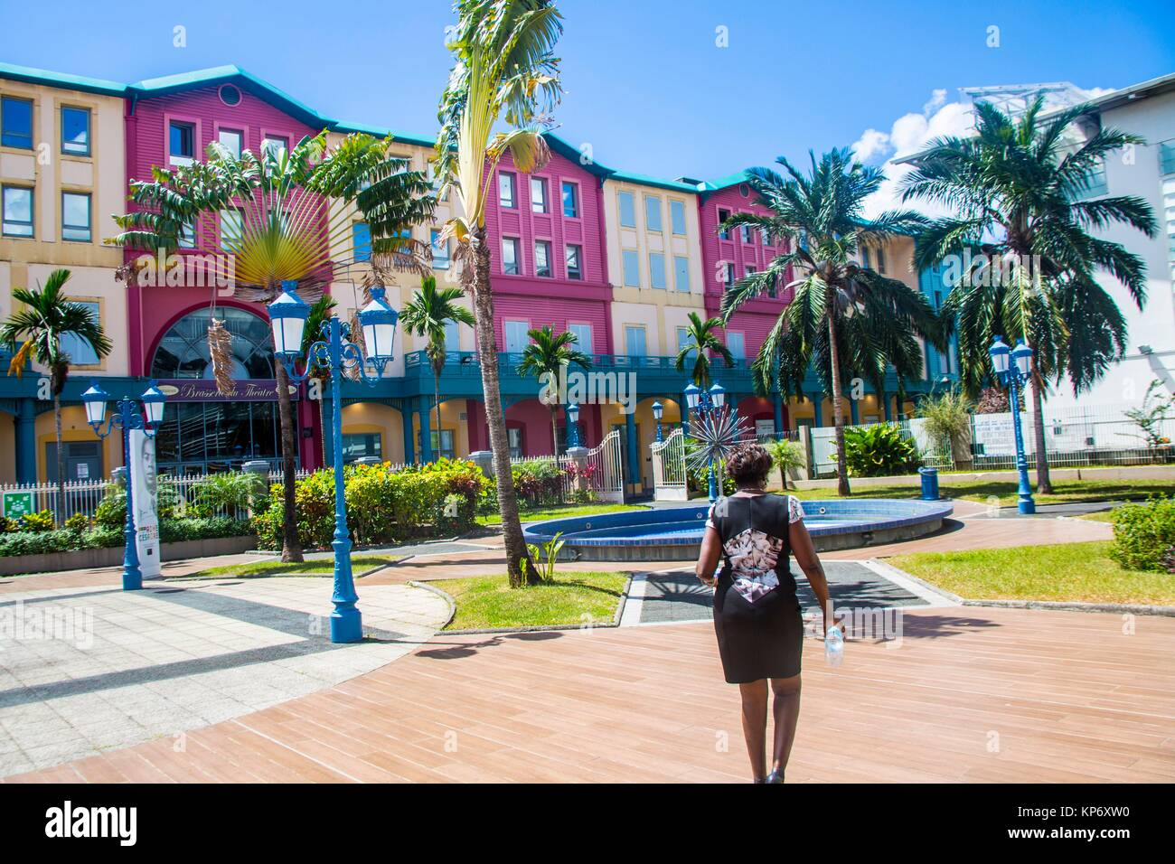 Beautiful palm tree typical to Martinique looking like a fan next to a old fashion lamp post agains a incredible - Stock Image