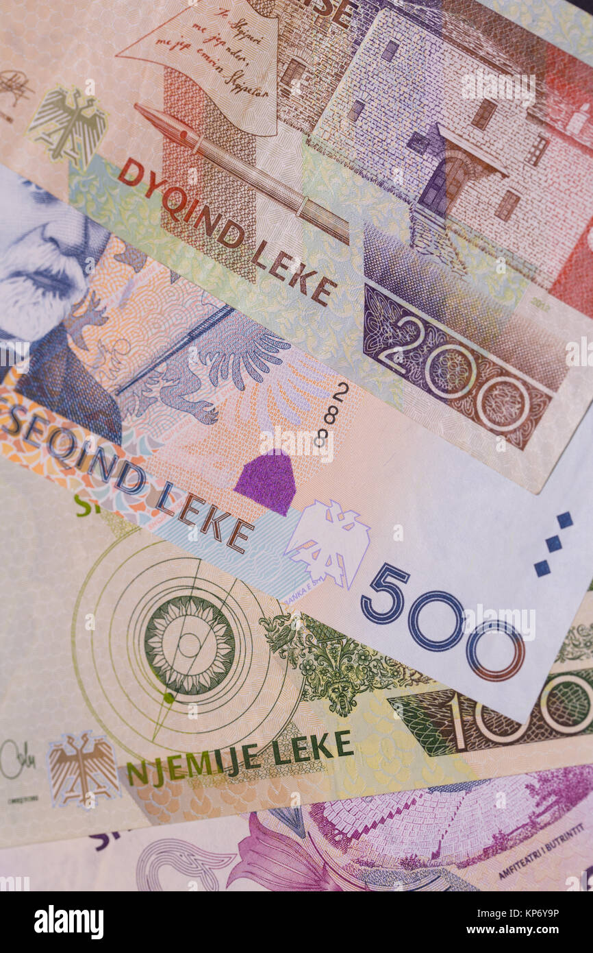 Albanian currency Lek banknotes of 1000, 500 and 200 denomination, horizontal - Stock Image