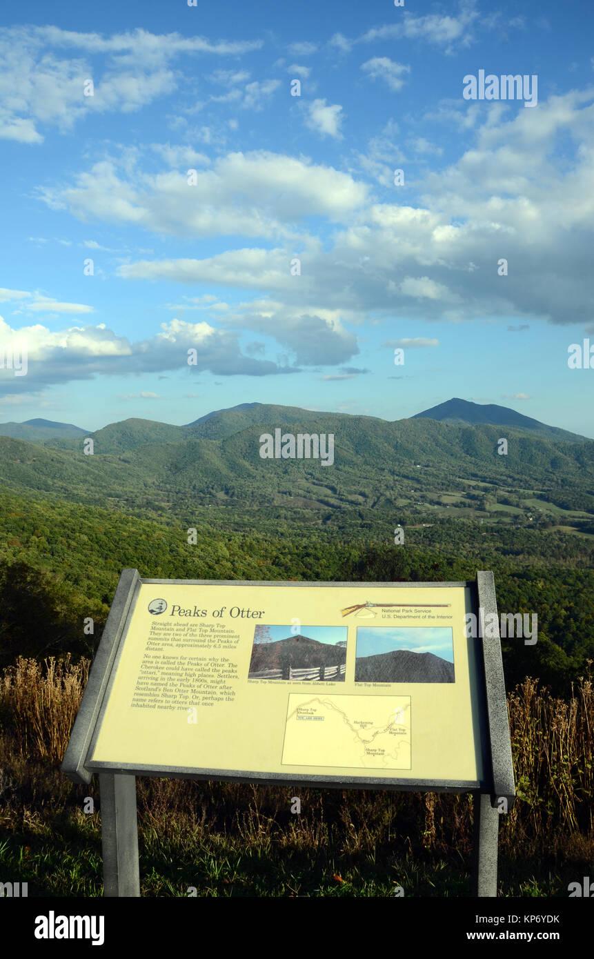 Interpretive information board overlooking the Peaks of Otter mountain range,The Blue Ridge Mountains, Virginia, - Stock Image