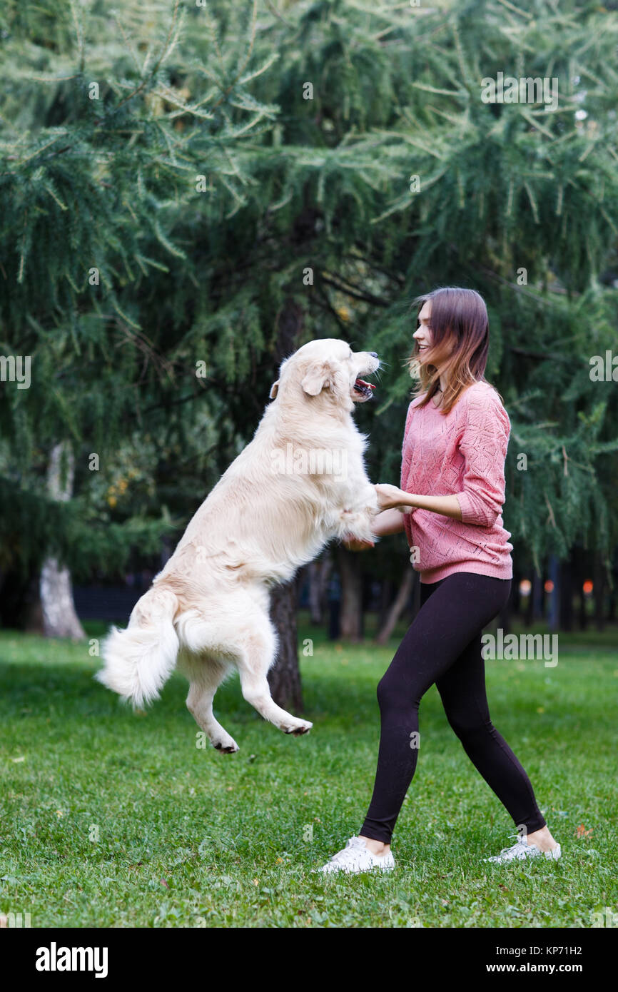 Image of brunette and jumping dog on green lawn - Stock Image