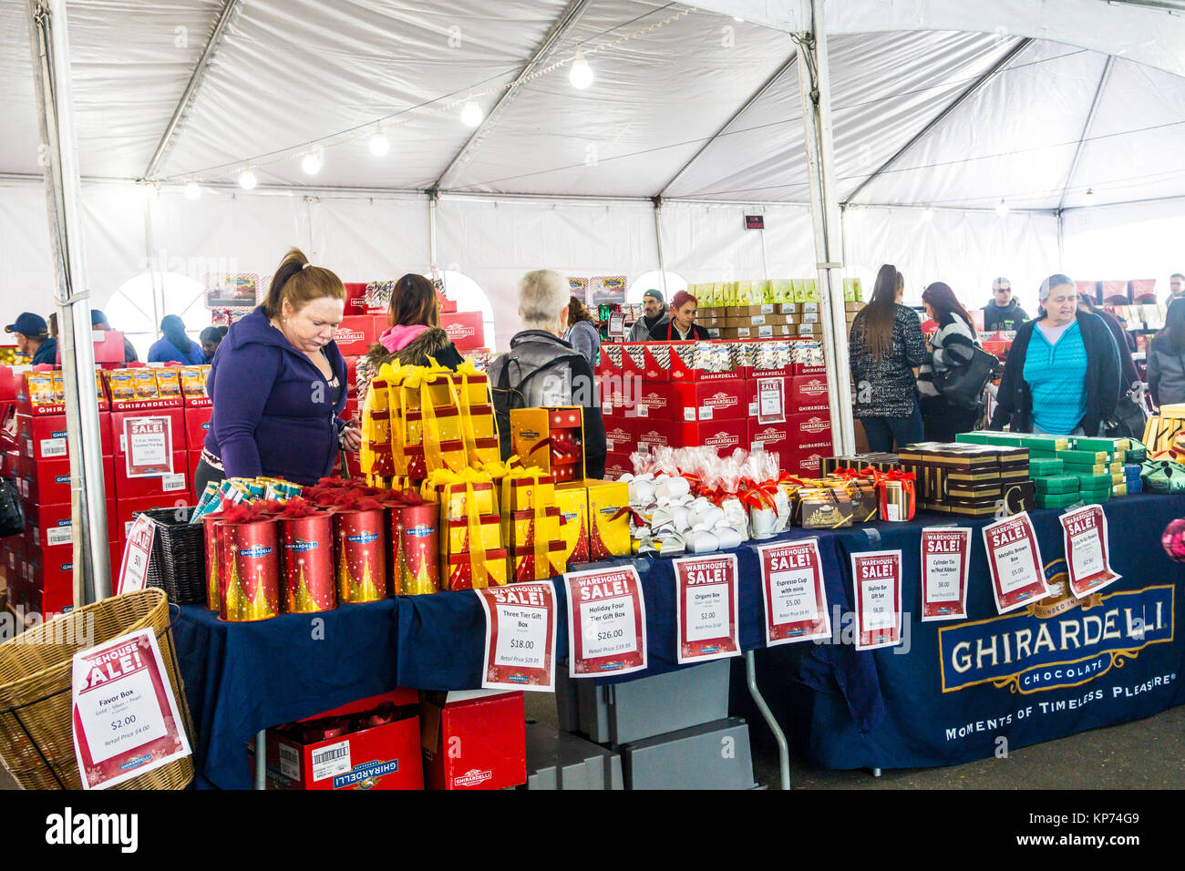 A Christmas tent sale at the Ghirardelli Chocolate factory