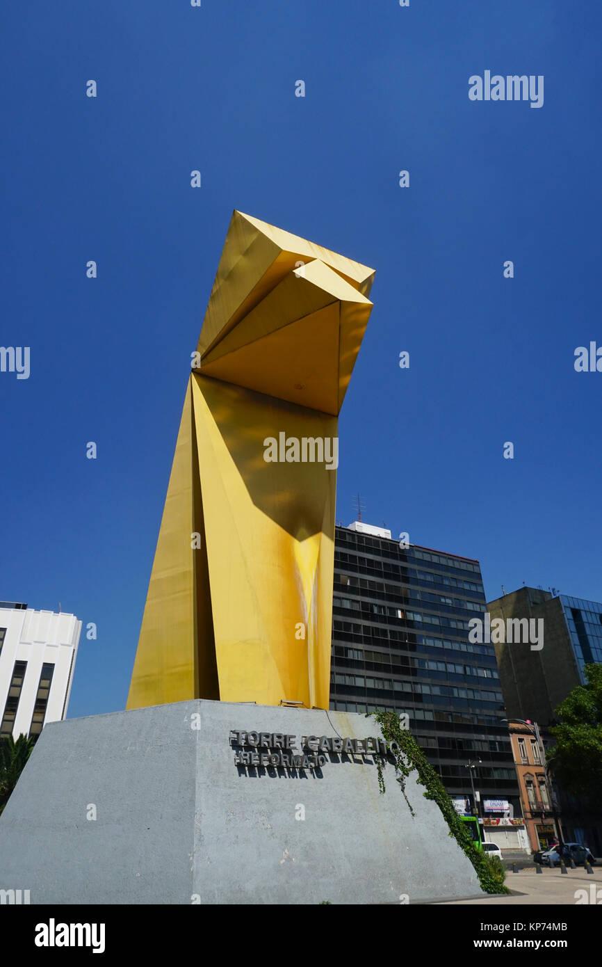 The Torre Caballito building and Caballito (Little Horse) sculpture, Paseo de la Reforma, Mexico City, Mexico. It - Stock Image