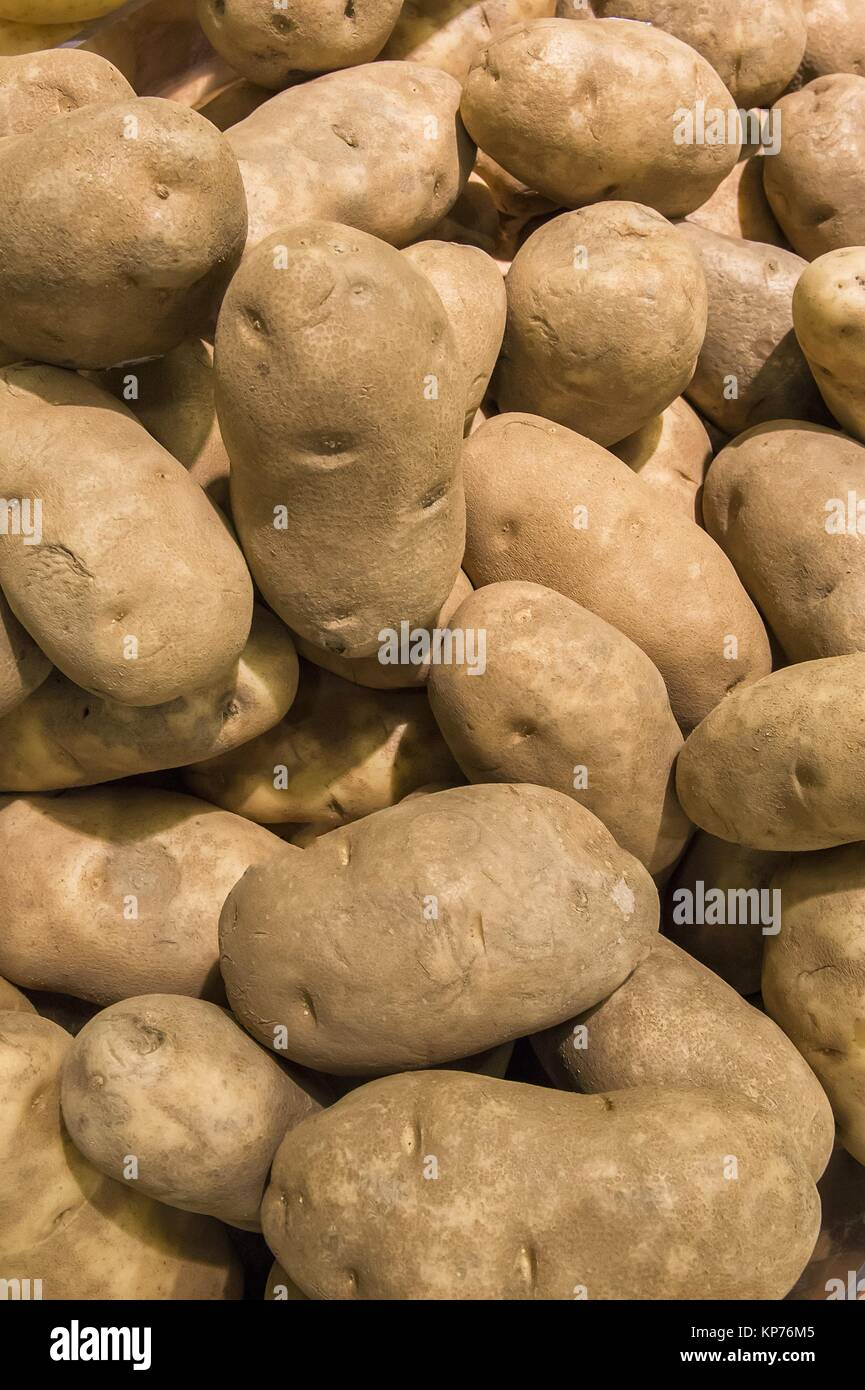 detail of a pile of fresh potatoes from market shelves real with - Stock Image
