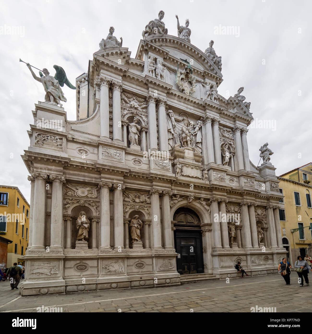 VENICE, ITALY: Baroque facade of the Church of Santa Maria
