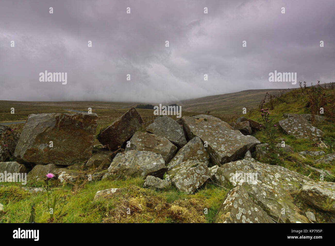 As the mist descends onto Harthope Moss, in the Autumn, between Upper Weardale and Upper Teesdale in County Durham - Stock Image