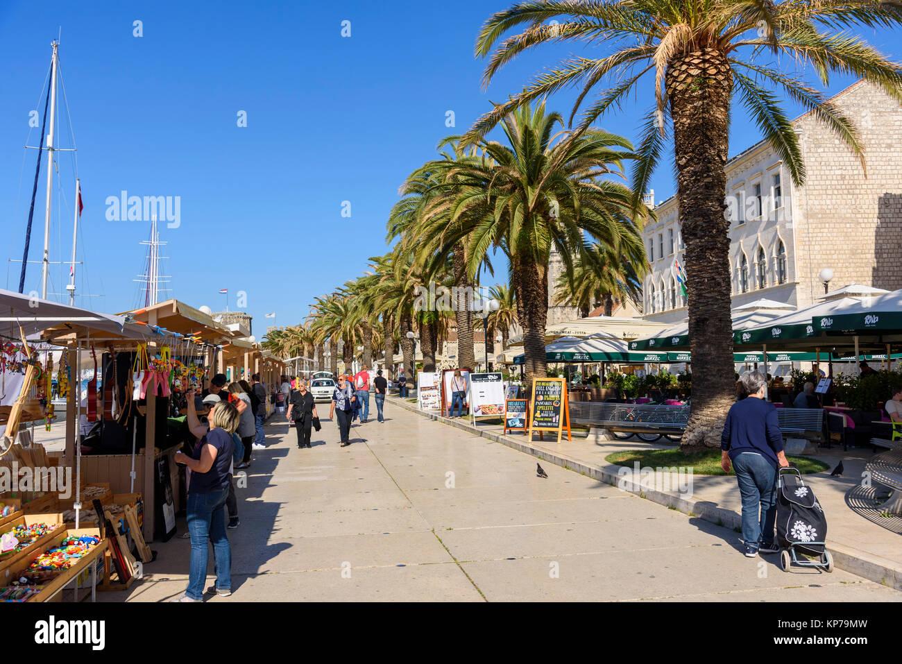 Sea front promenade. Trogir Old Town, Croatia - Stock Image