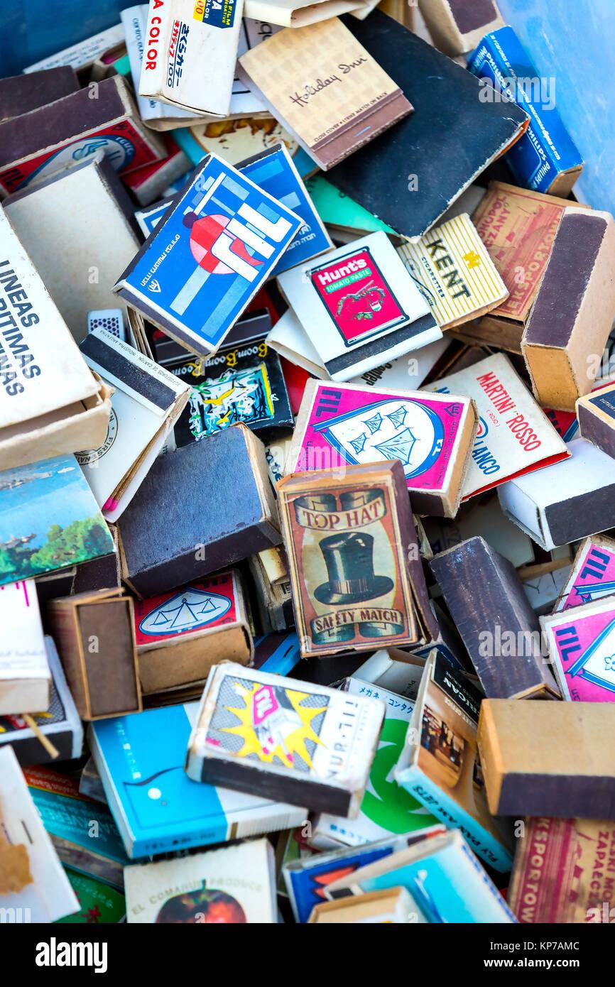 TEL AVIV-JAFFA, ISRAEL - 24 NOVEMBER 2017:Collection of matchboxes on the shelves of the antique market - Stock Image