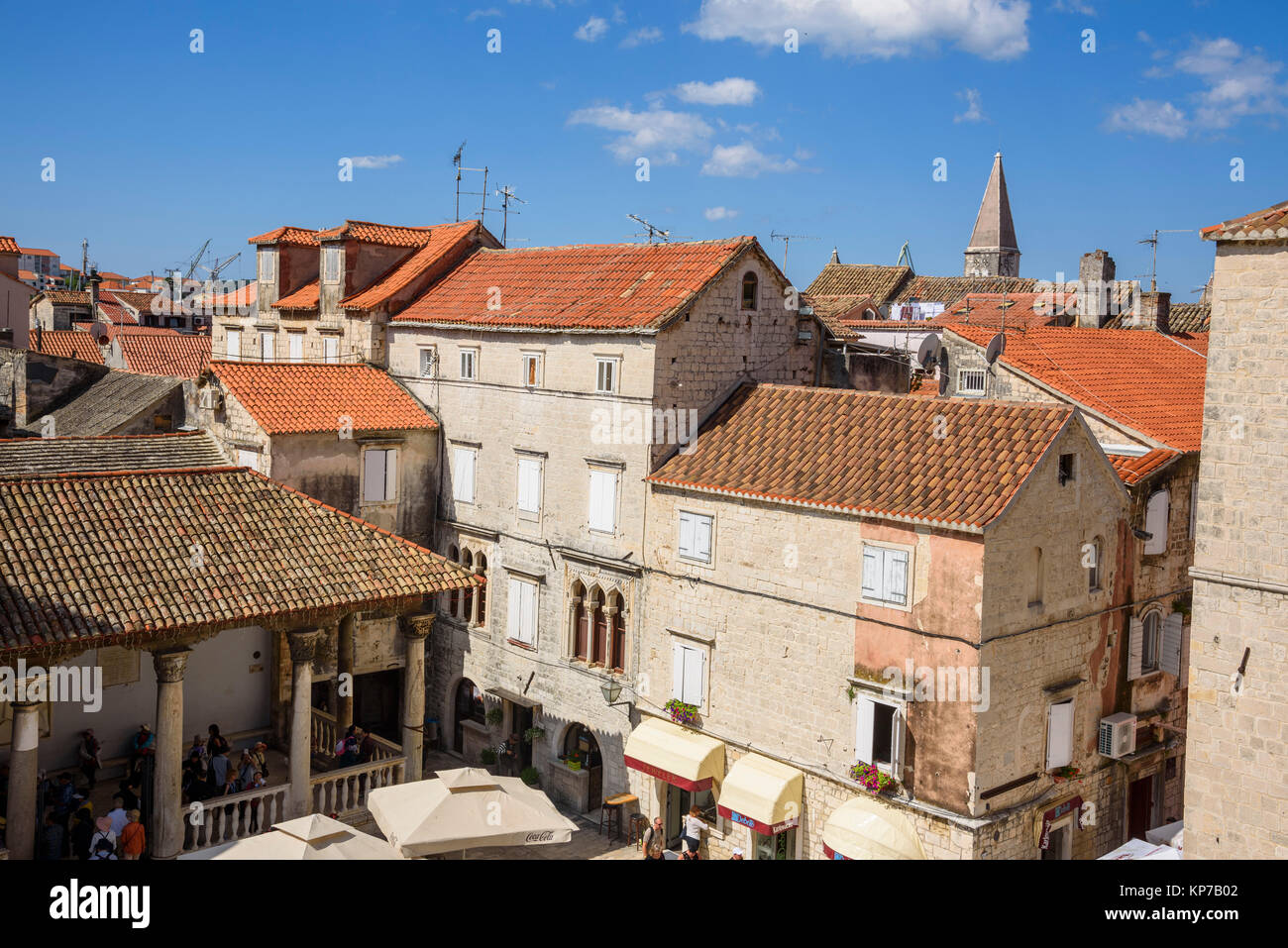 View from the bell tower, Cathedral of St Lawrence, Trogir Old Town, Croatia Stock Photo