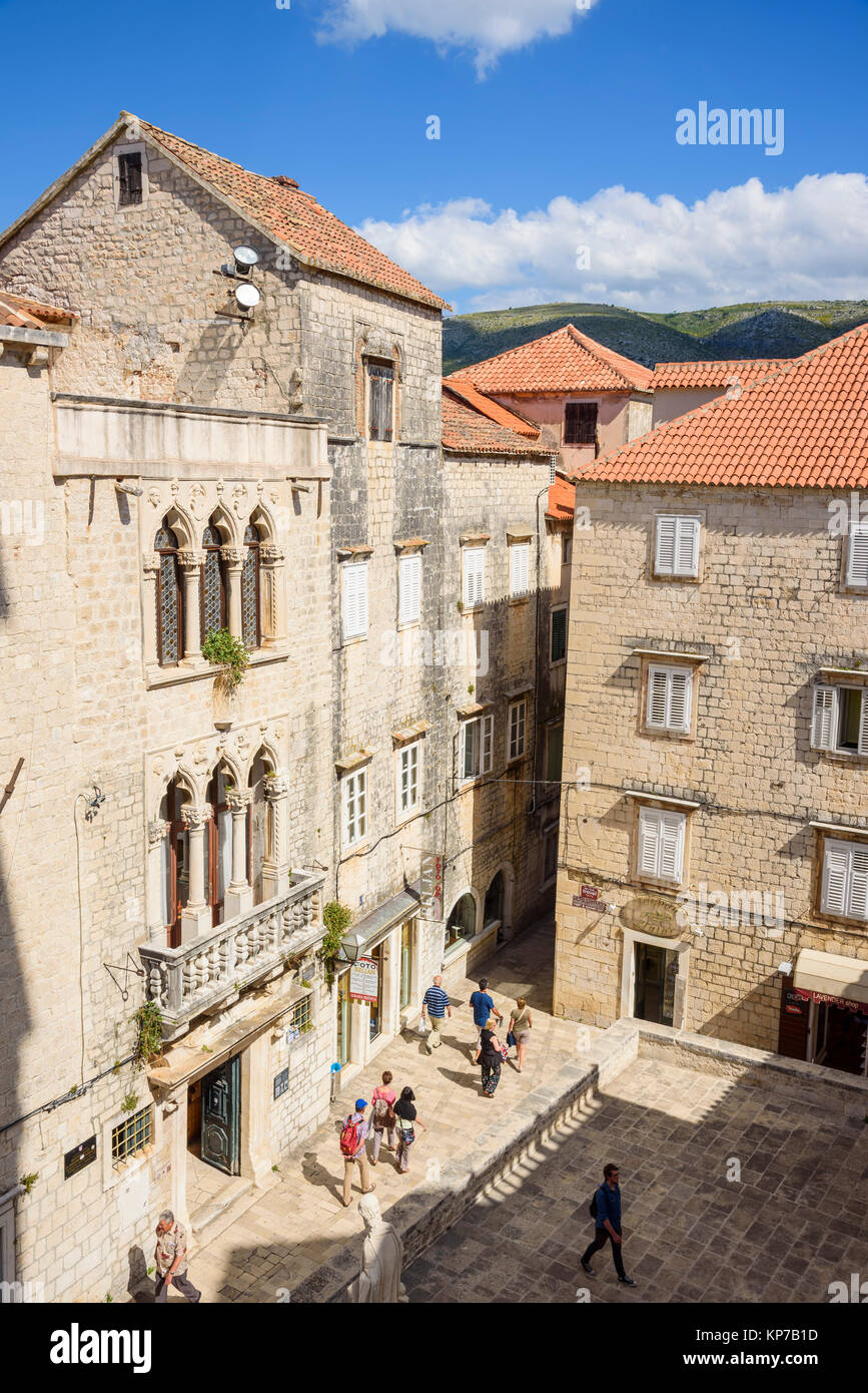 View from the bell tower, Cathedral of St Lawrence, Trogir Old Town, Croatia - Stock Image