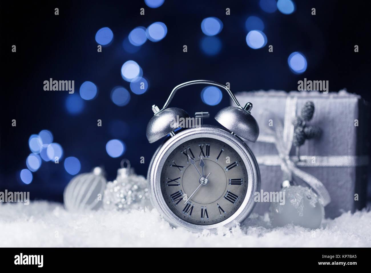 Nearly twelve o'clock, New Year dark festive background, copy space - Stock Image