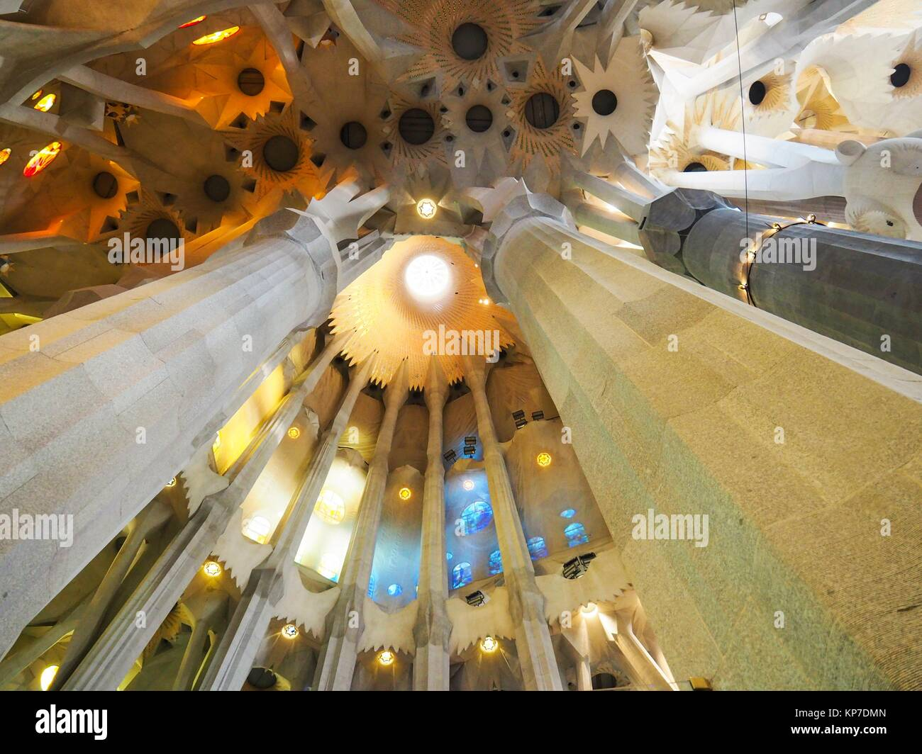 Europe, Spain, Barcelona, Sagrada Familia, Interior, Interiors, Gaudi, UNESCO, UNESCO World Heritage Sites, Tourism, - Stock Image