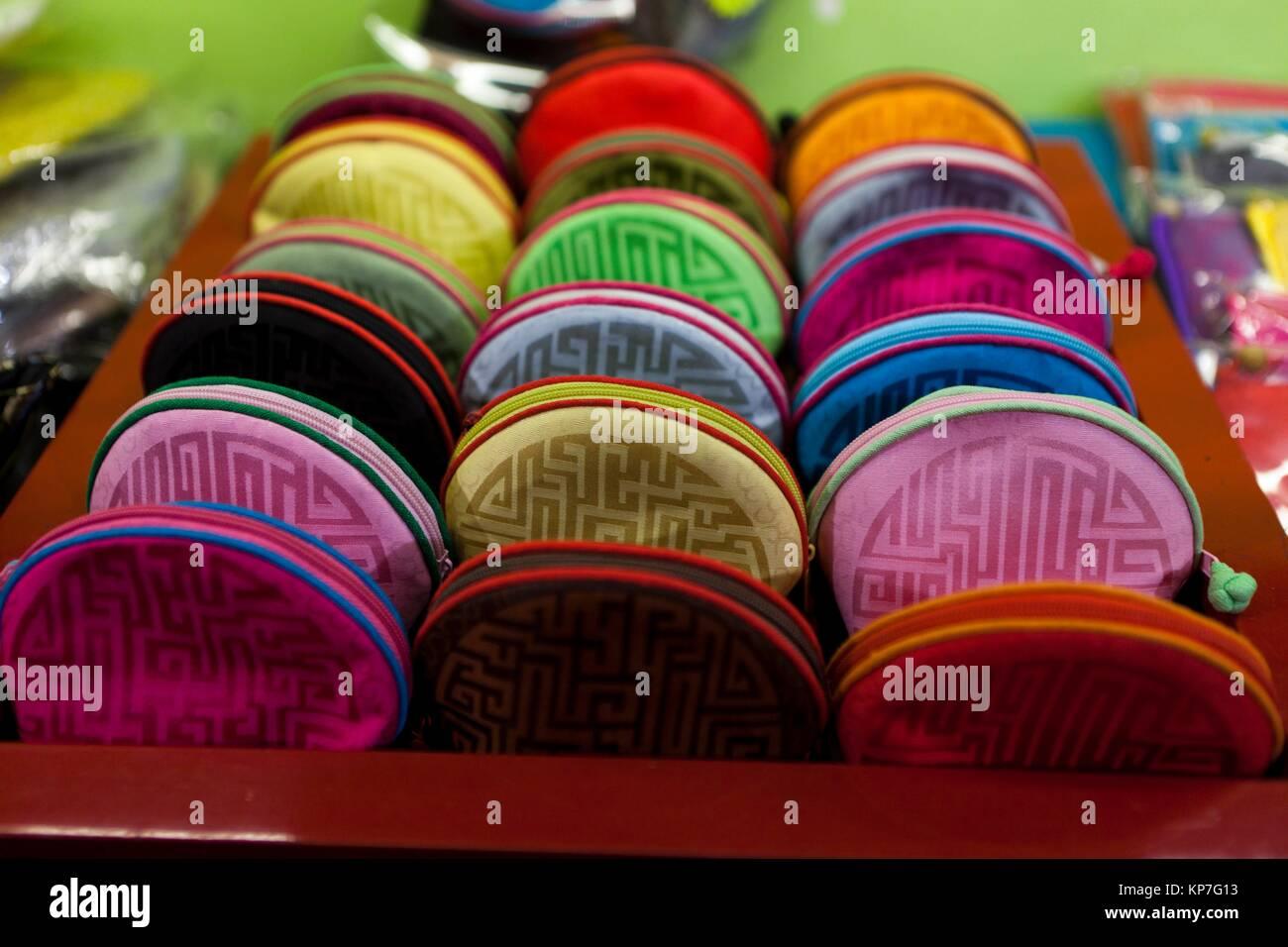Coin purse. Detail of shop in Nan Lou Gu Xiang Hutong, Beijing, China, Asia - Stock Image