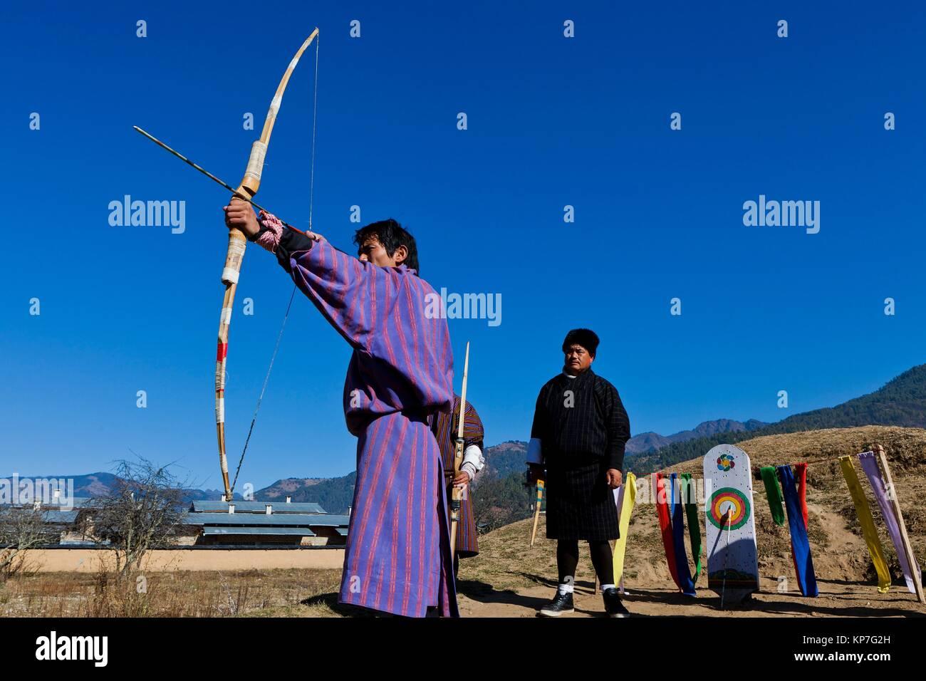 Archery, Bhutan´s national sport, Bumthang, Bhutan, Asia - Stock Image