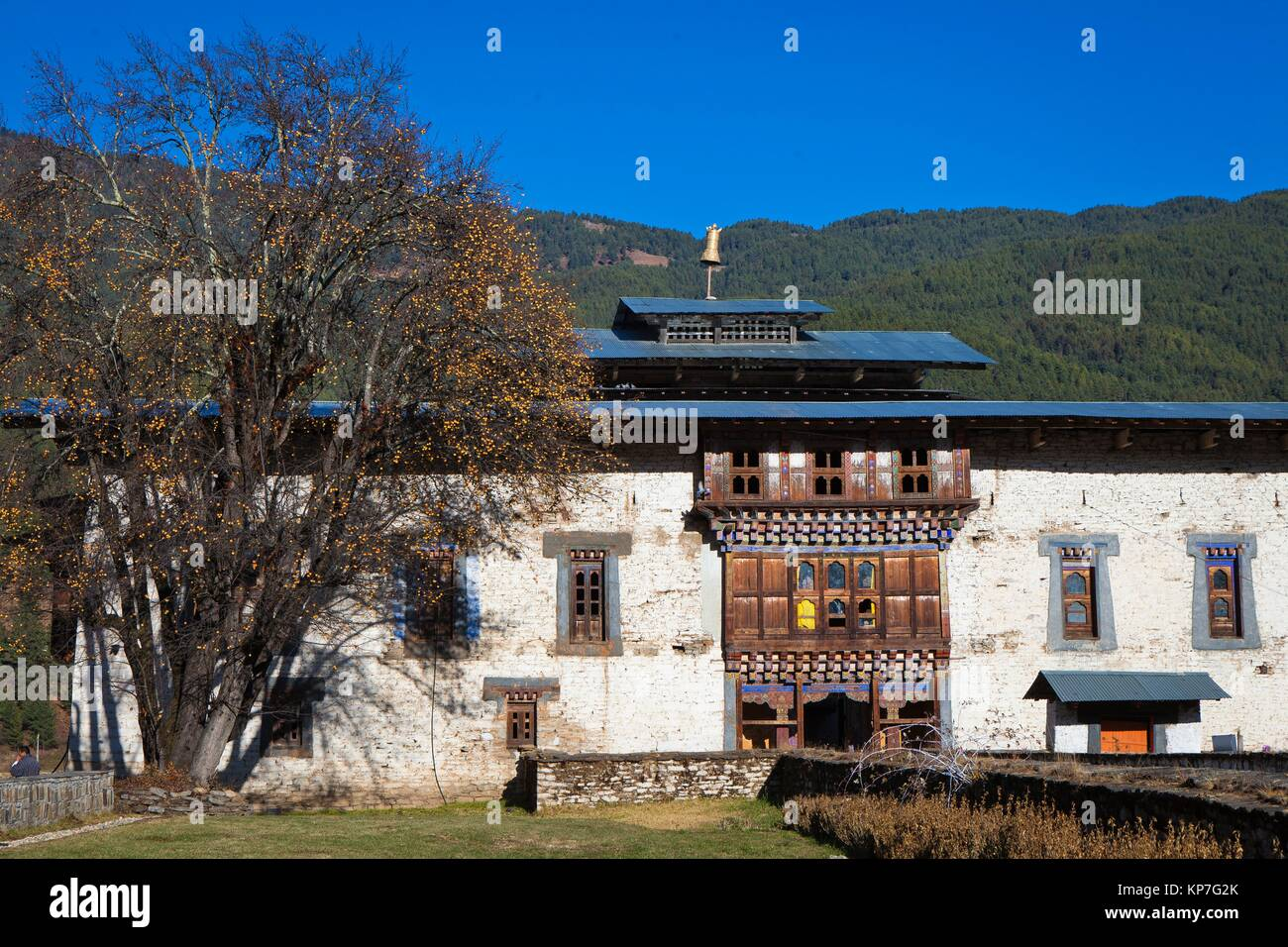 Temple of Wangdichholing Palace built in 1857 as the Kingdom´s first palace, Bumthang, Bhutan, Asia - Stock Image