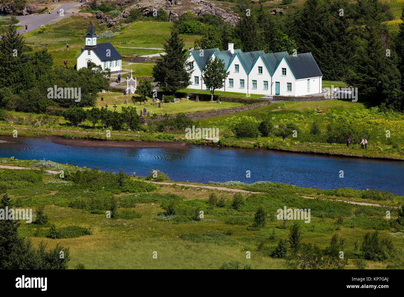 Thingvellir national church and Thingvallabaer, a five-gabled farmhouse, official summer residence of Iceland´s - Stock Image
