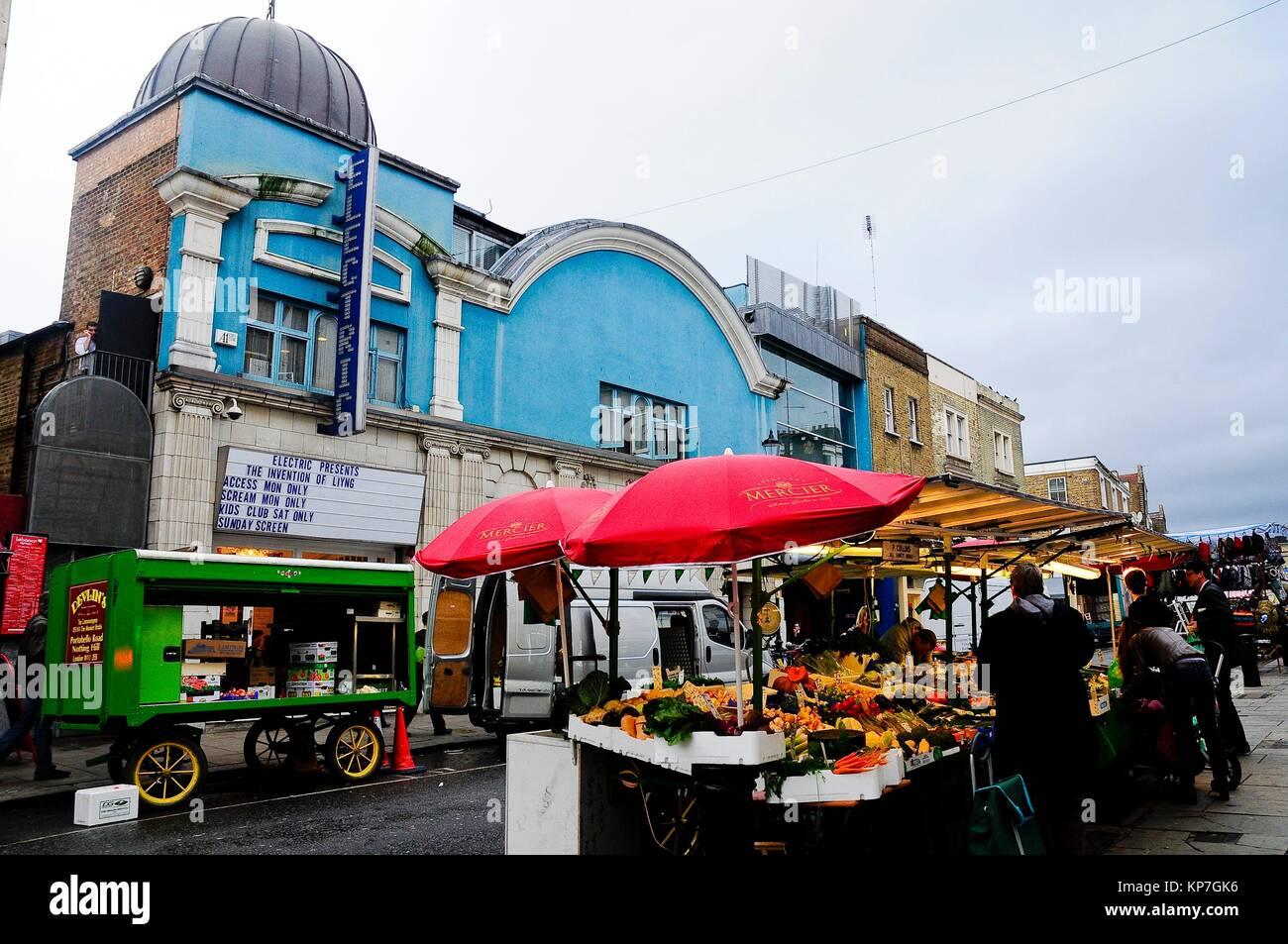 Food market and Electric cinema, Portobello, Nothing Hill, London, England, UK, Europe - Stock Image