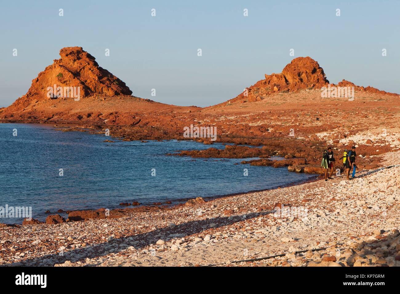Scuba divers, Ras Dihamri Marine Reserve, Socotra island, listed as World Heritage by UNESCO, Aden Governorate, - Stock Image