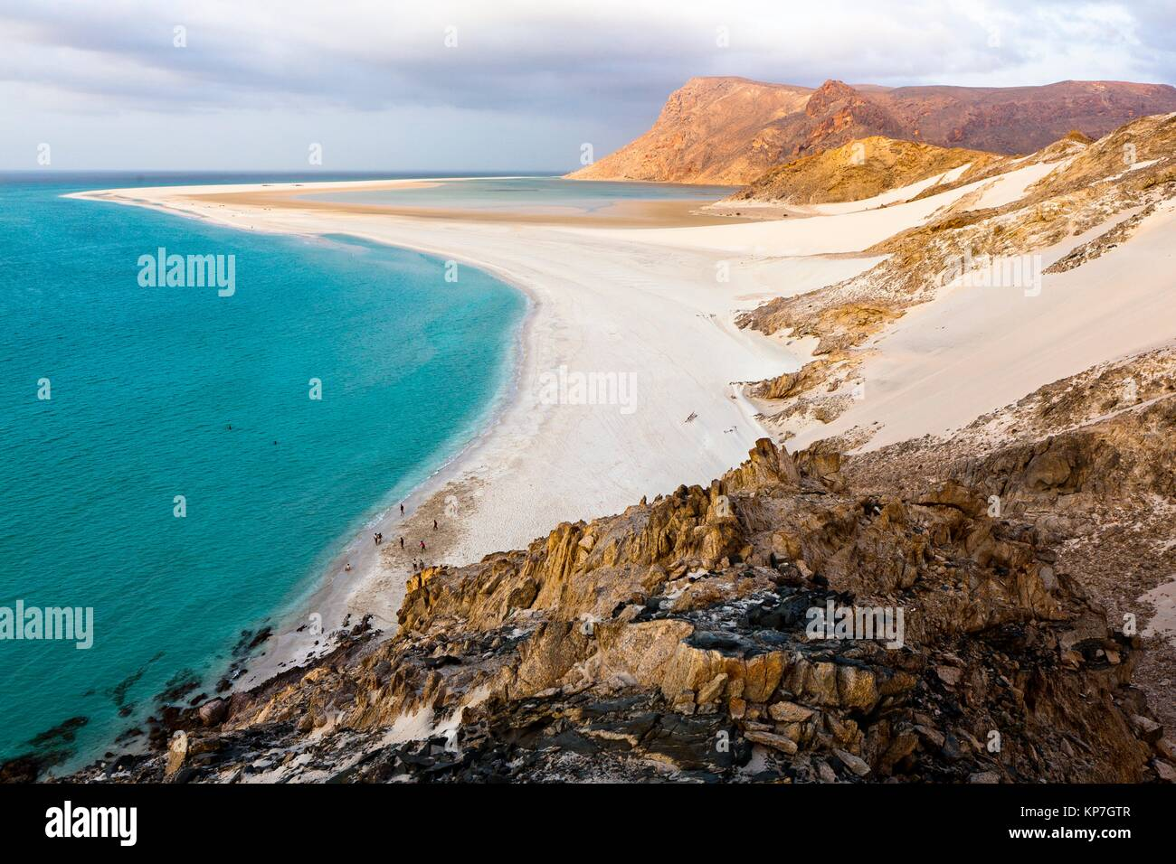 Ditwah lagoon near Qalansiyah, Socotra island, listed as World Heritage by UNESCO, Yemen, Arabia, West Asia - Stock Image
