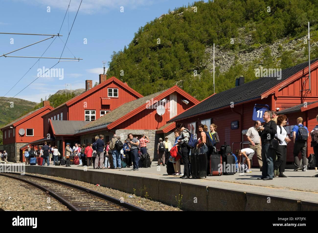 Myrdal Station, Flåm Railway (Flåmsbana, the train runs through spectacular scenery, alongside the Rallar - Stock Image