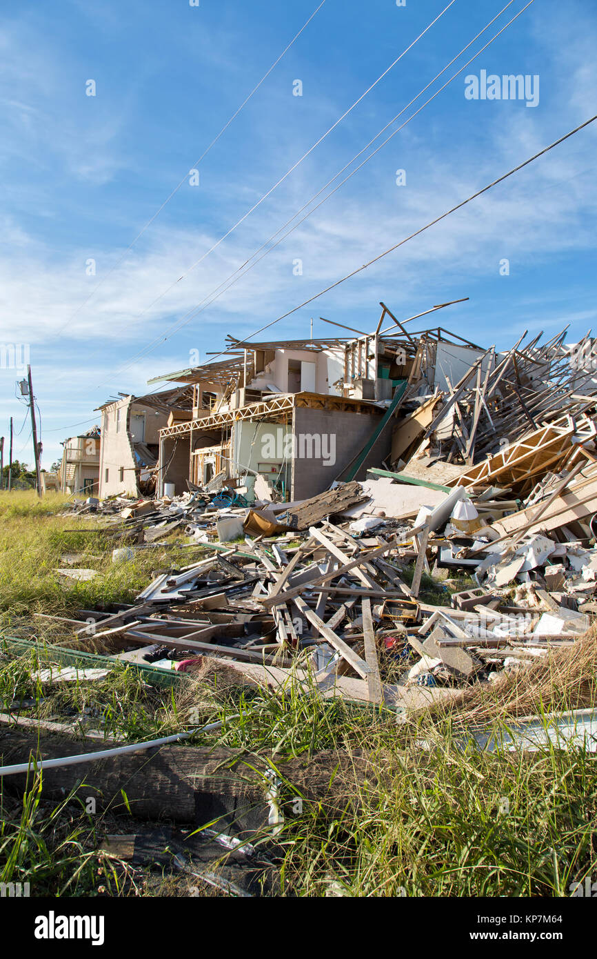 Hurricane Harvey  2017 destruction, apartment complex consisting of seveal structures. - Stock Image