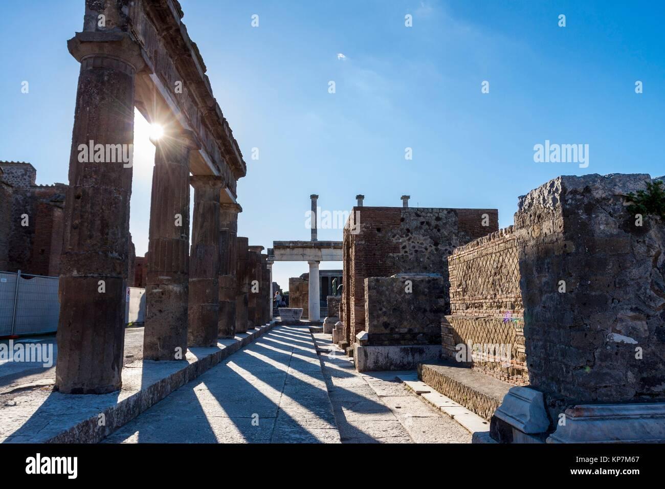 Ruins of a major important roman city. Pompeii, Campania. Italy - Stock Image