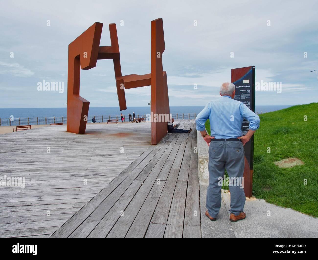 Jorge Oteiza sculpture called Construcción Vacia or Void Construction. San Sebastian City. Basque country. - Stock Image