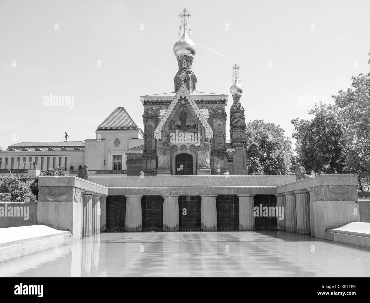 Black and white Russian Chapel in Darmstadt Stock Photo
