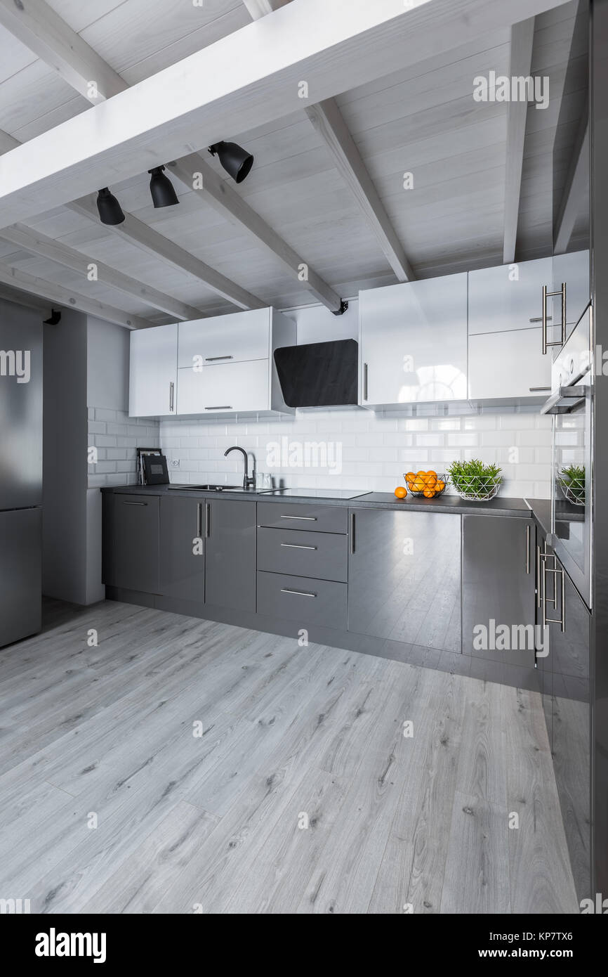 Big Contemporary Kitchen With White Cabinets Metro Tiles And Gray Floor Stock Photo Alamy