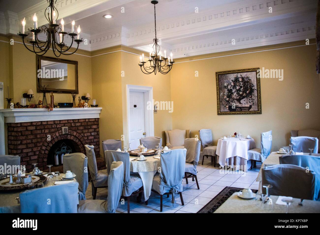Beautiful Dining Room With Fireplace Inside A Bed And Breakfast Stock Photo Alamy