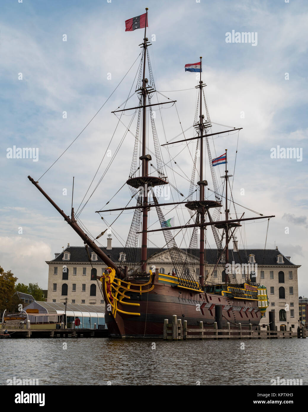 The Amsterdam, three-masted ship, clipper ship, replica, Dutch East India Company ship, Maritime Museum, Amsterdam, - Stock Image