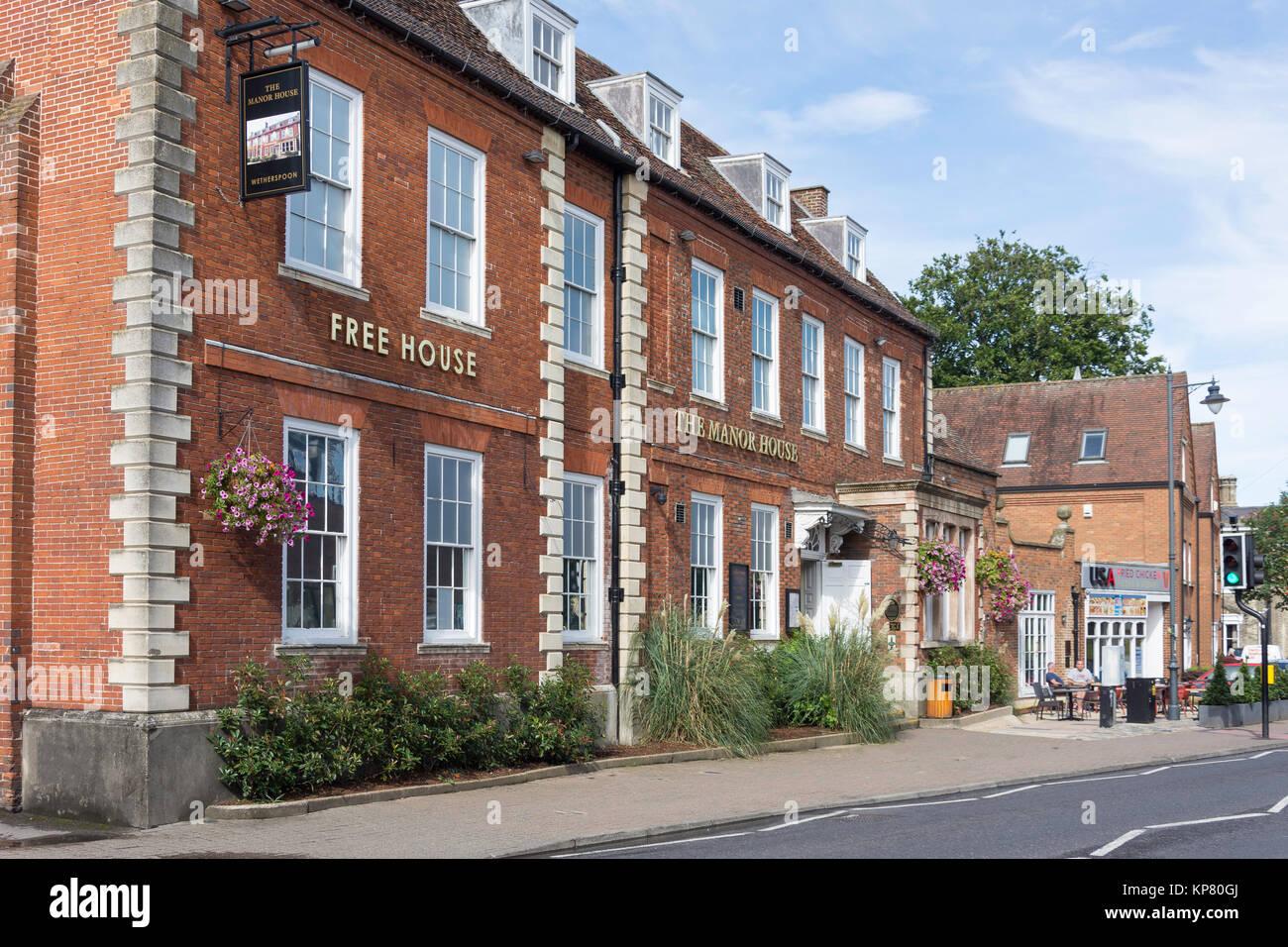 Wetherspoons The Manor House Pub, Melbourn Street, Royston, Hertfordshire, England, United Kingdom - Stock Image
