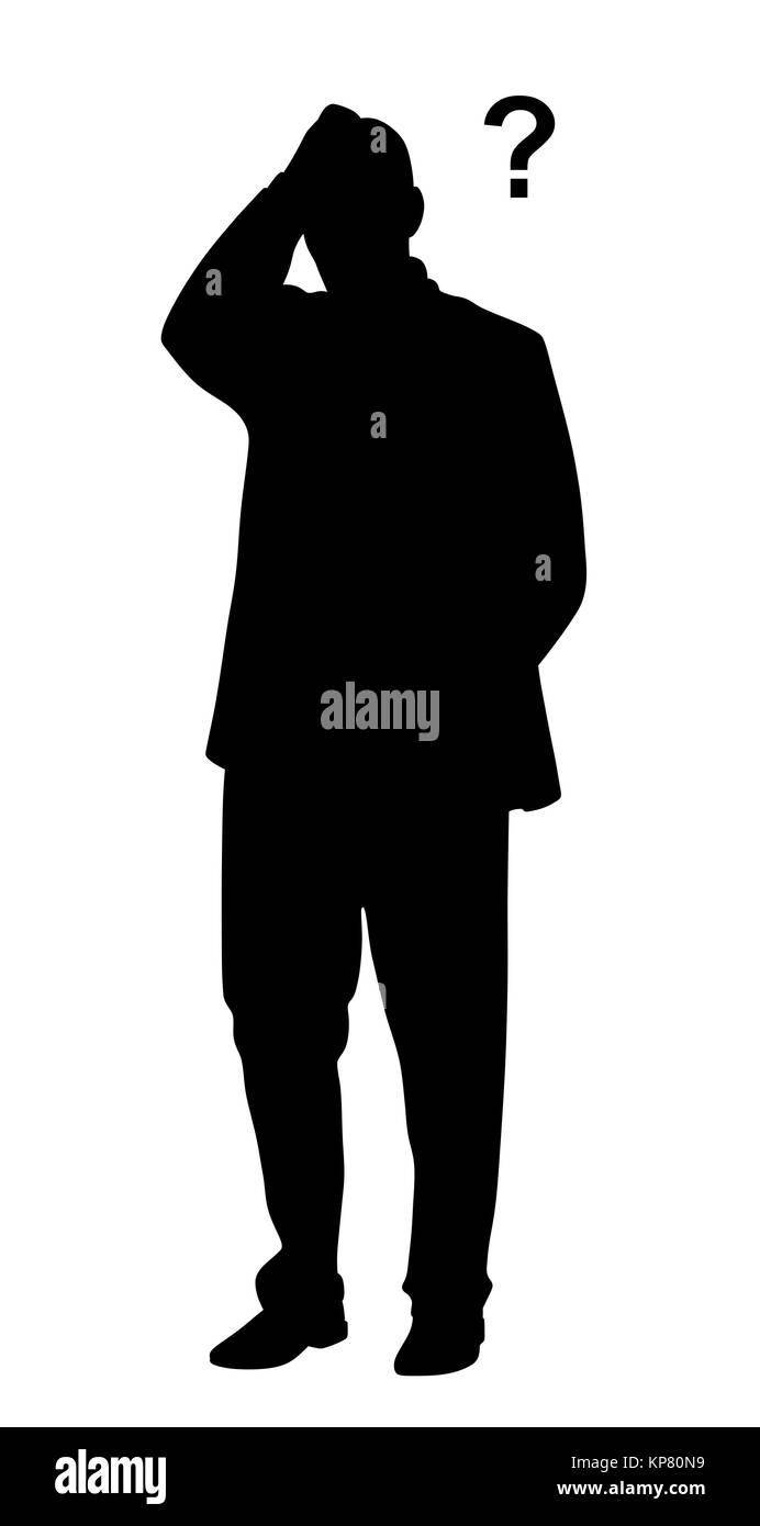 Businessman having problems with question mark - Stock Vector