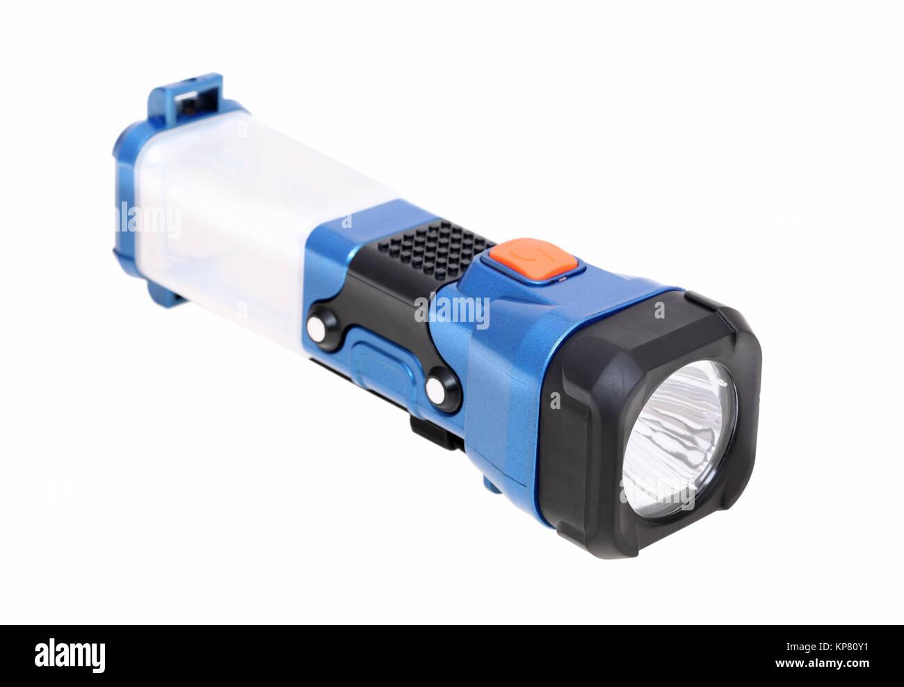 electric pocket flashlight isolated on white background - Stock Image