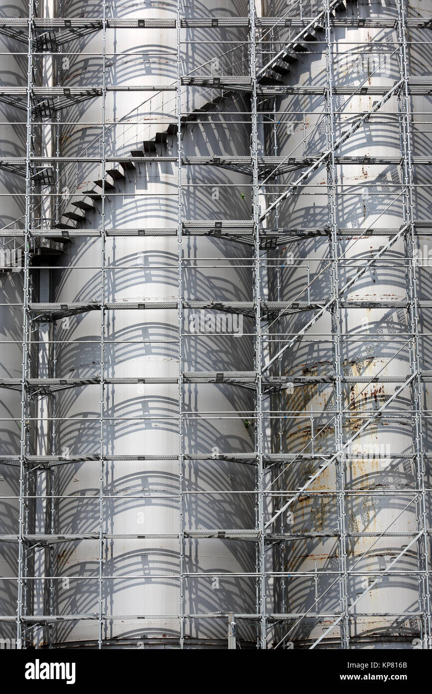View Of A Scaffolding Industrial Tank Storage   Stock Image
