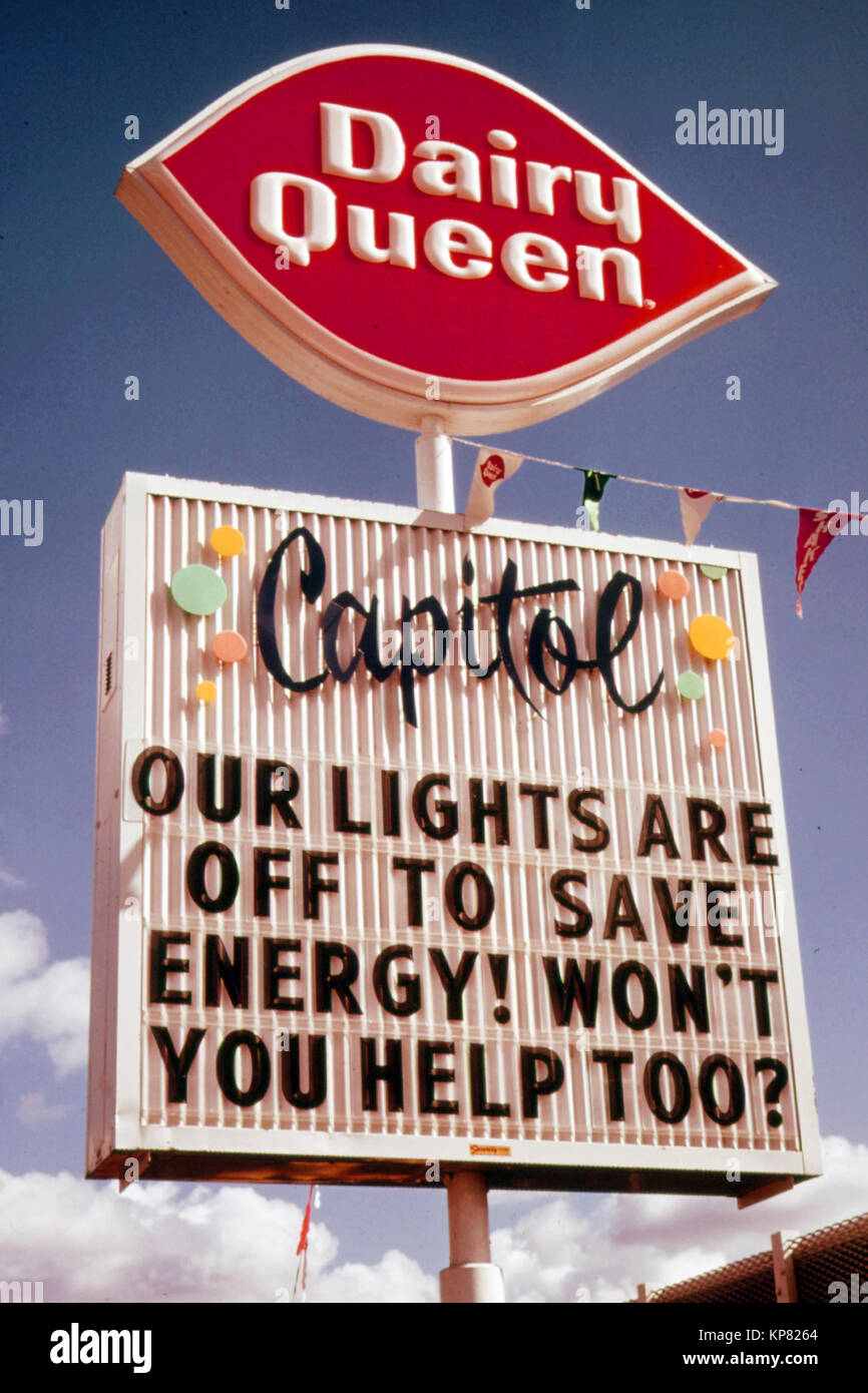 After the Oregon Governor Banned Neon and Commercial Lighting Displays, Firms Used Their Unlit Signs to Convey Energy - Stock Image