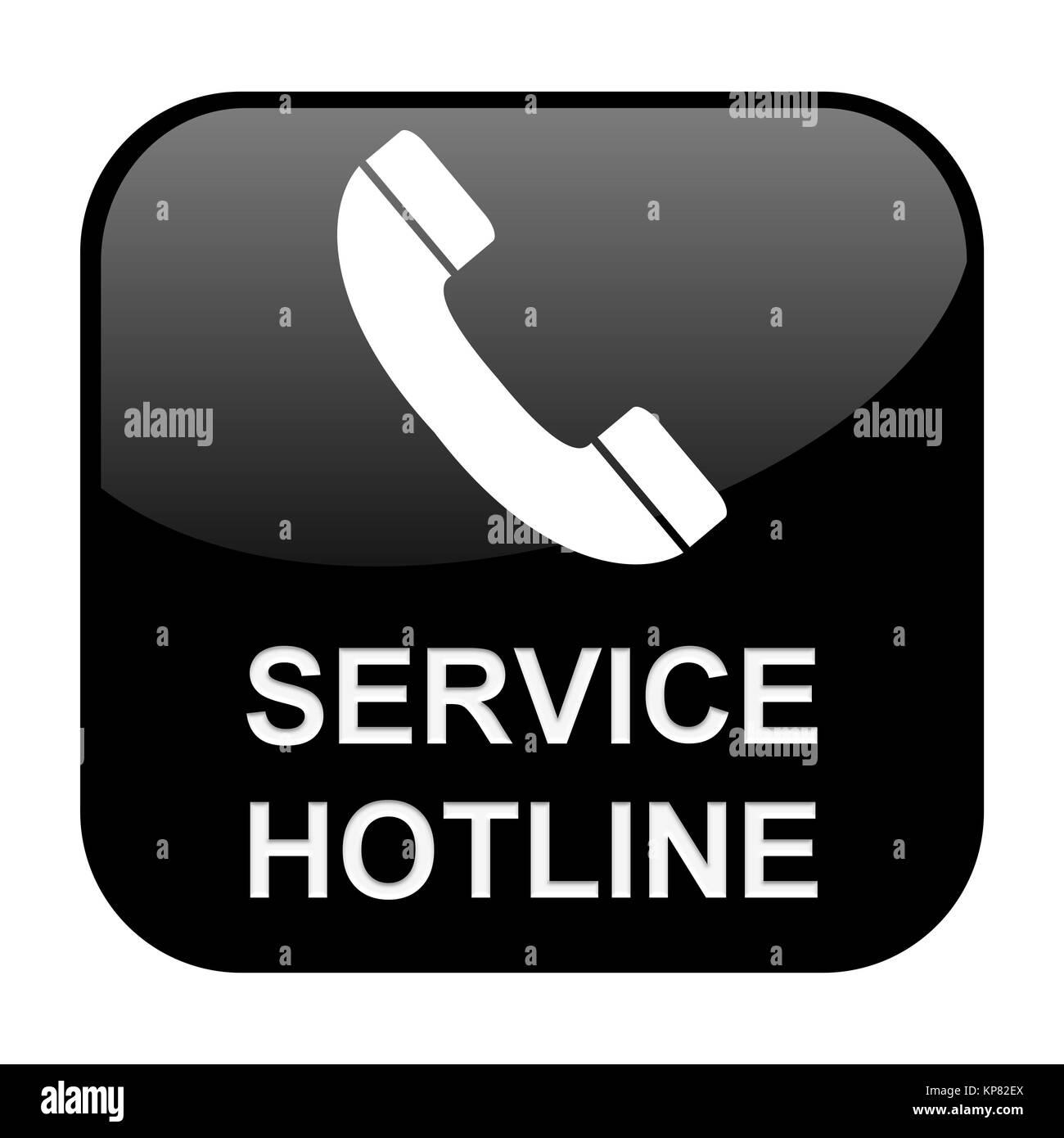 Schwarzer isolierter Button Service Hotline Stock Photo