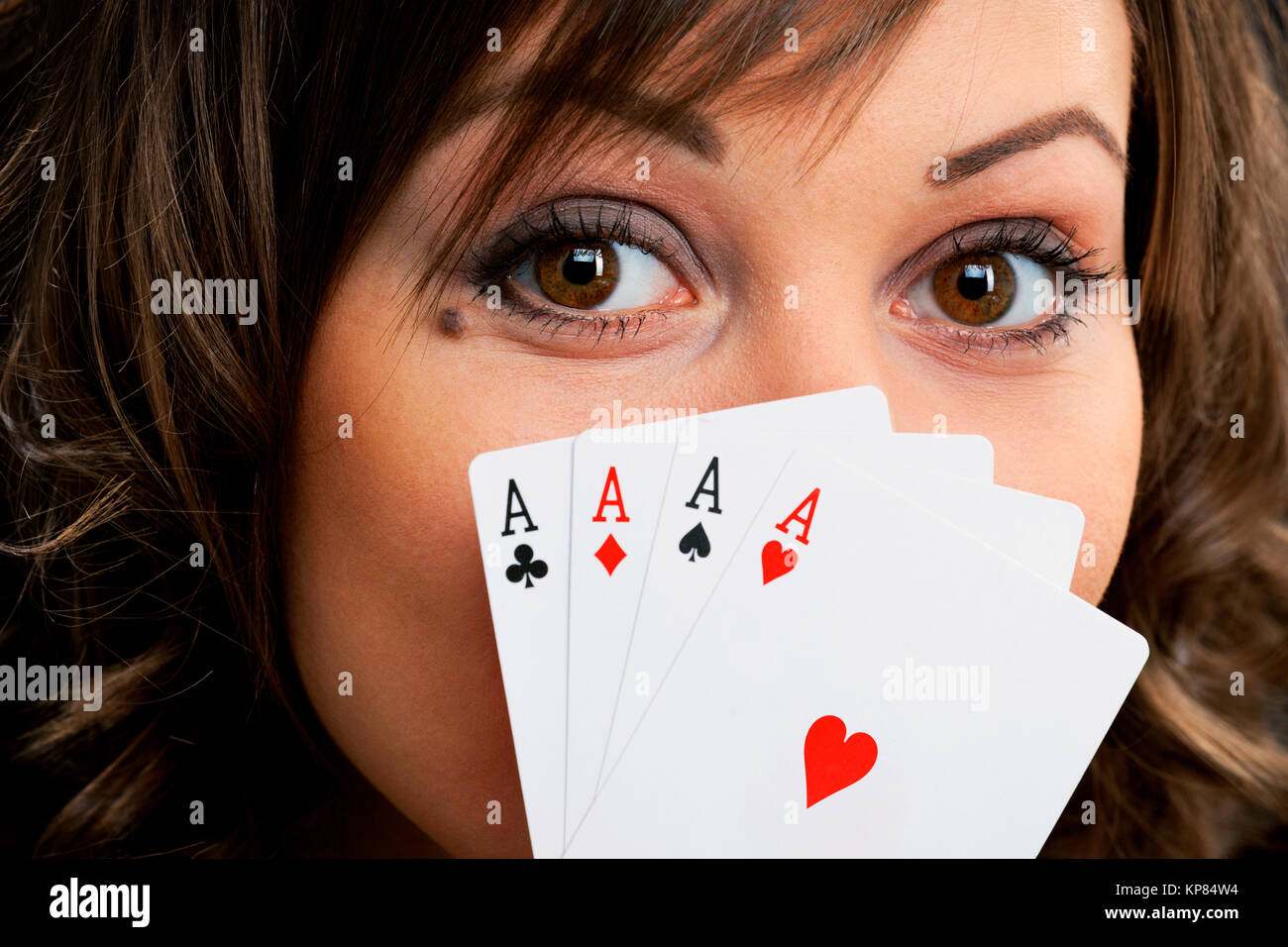 Young woman with cards - Stock Image