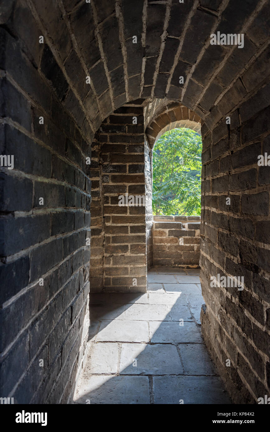 The Great Wall of China is a series of fortifications made of stone, brick, tamped earth, wood, and other materials, - Stock Image