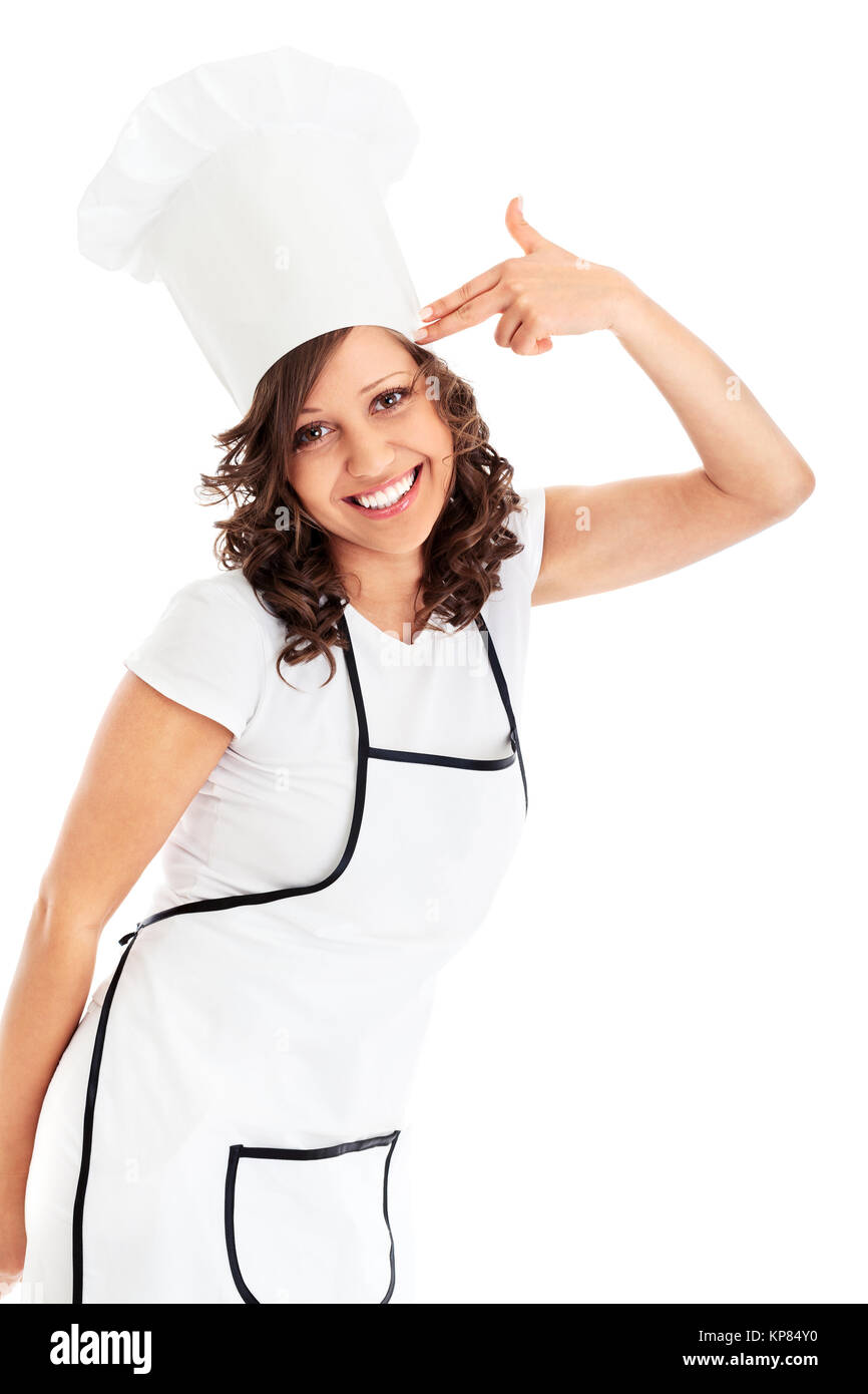 Chef pretending to suicide - Stock Image