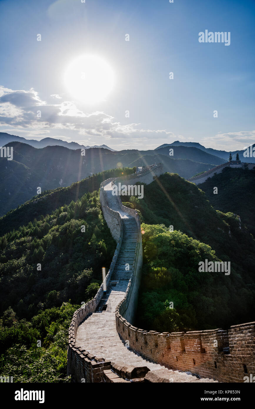 the Great Wall is generally built along an east-to-west line across the historical northern borders of China. - Stock Image