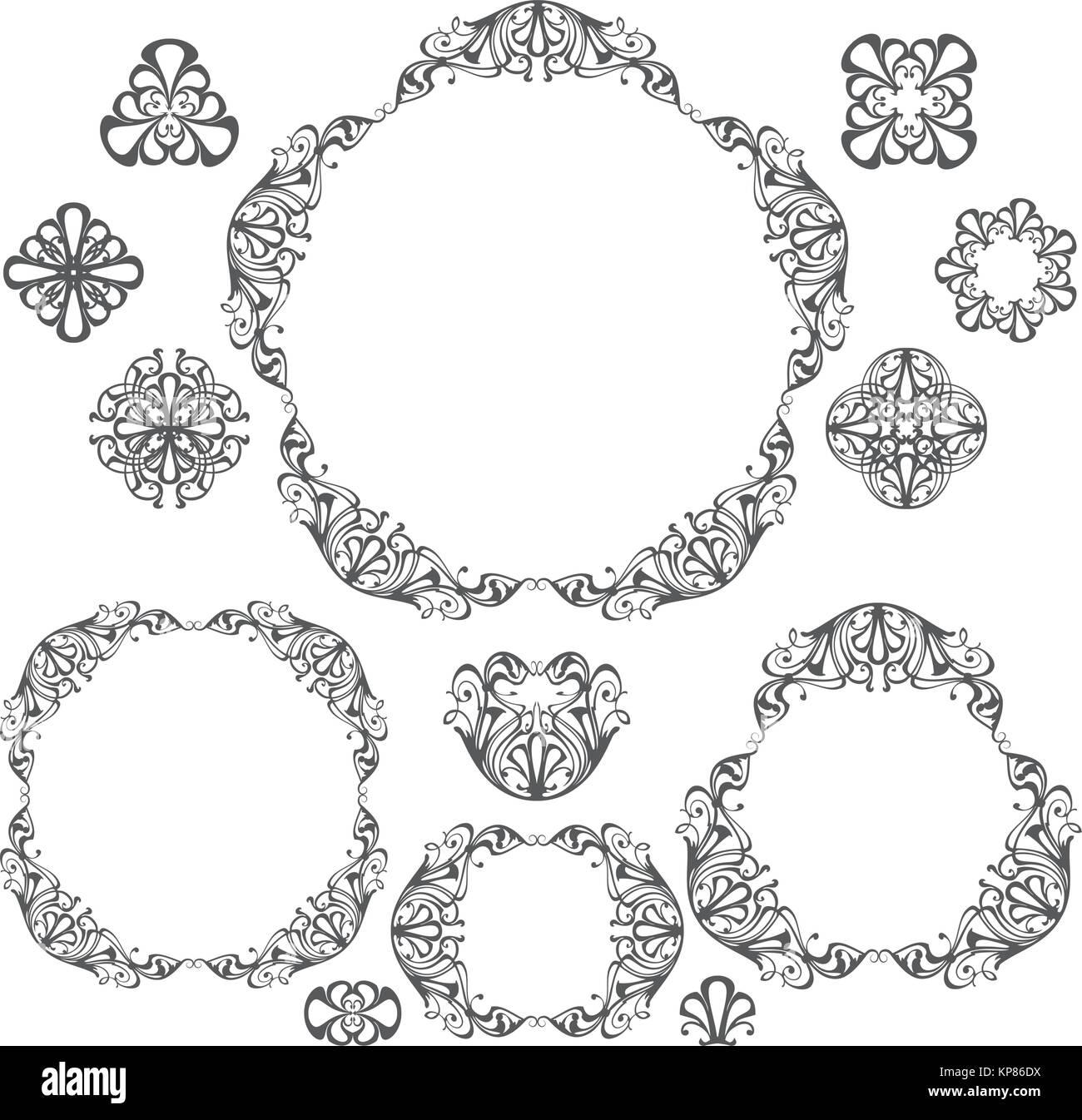 Decorative vintage frames and borders set, design elements Stock Vector