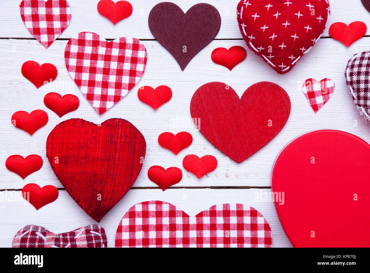 Texture With Many Red Fabric Hearts On White Wooden Background Stock Photo Alamy