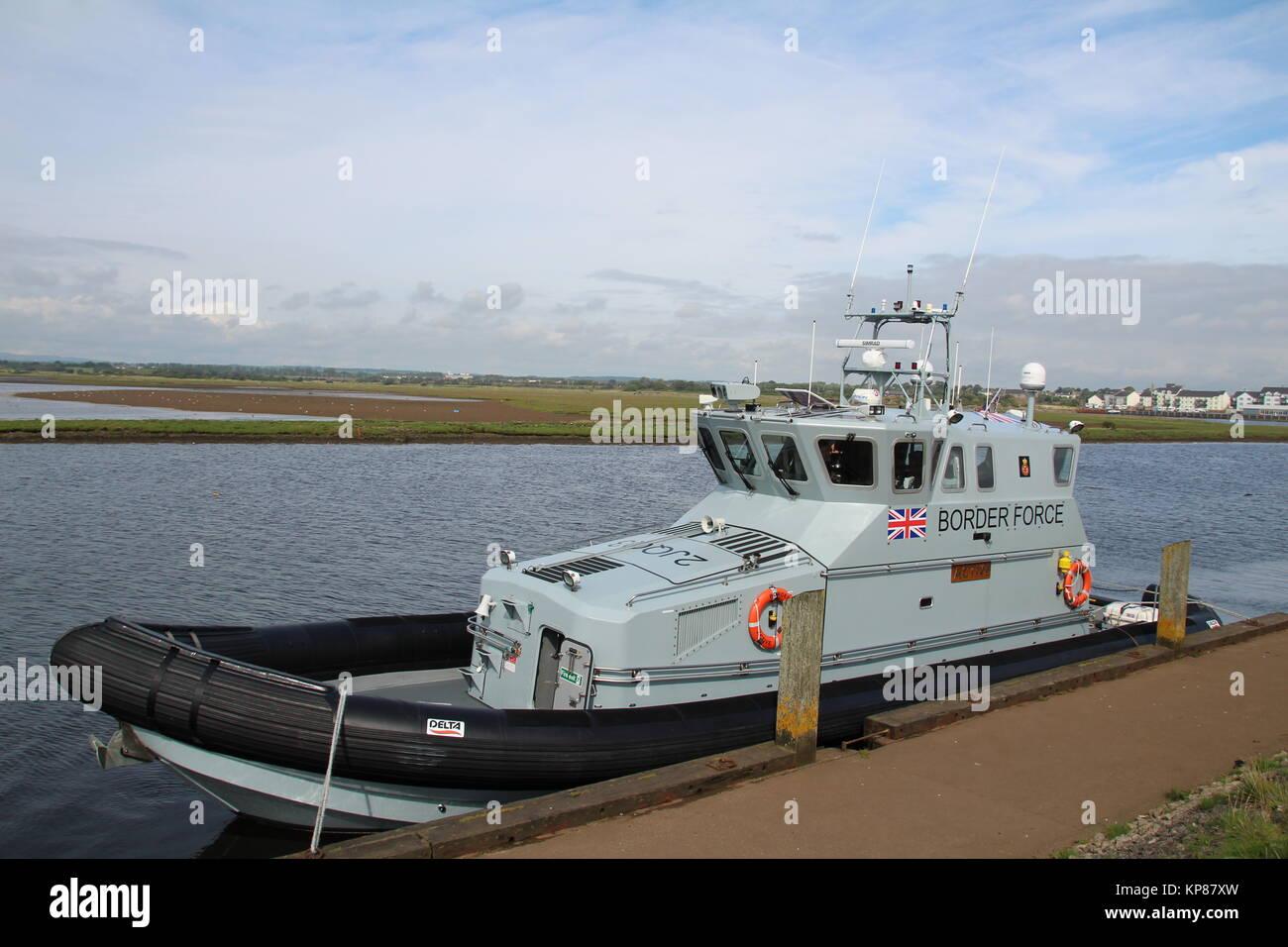 HMC Active, a 20 metre coastal patrol vessel operated by the UK Border Force, berthed at Irvine Harbour in Ayrshire. Stock Photo