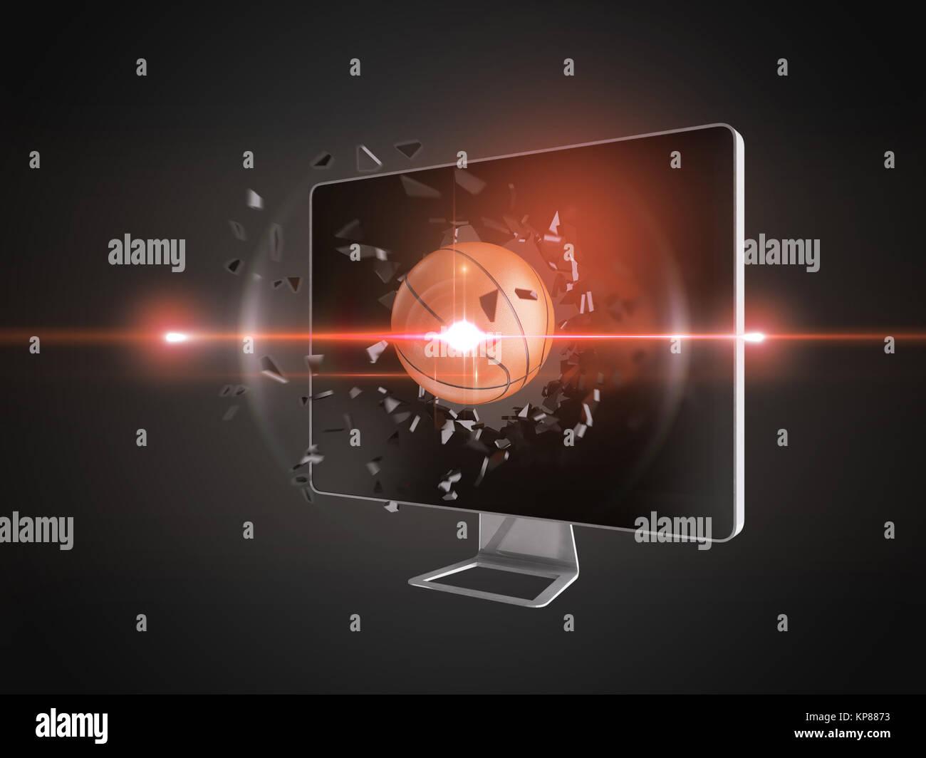 basketball destroy computer screen. - Stock Image
