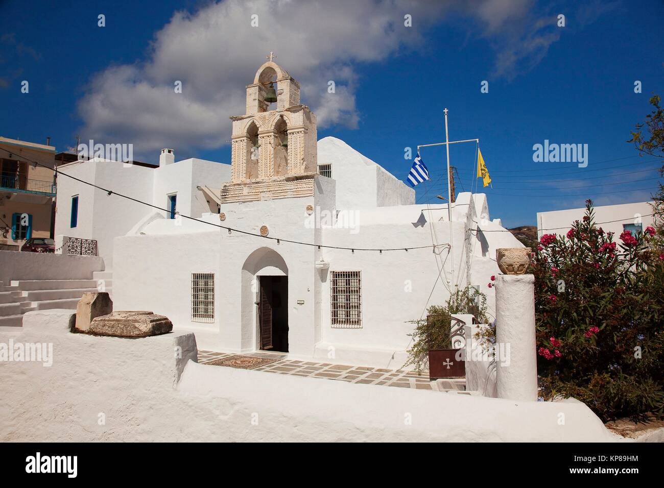 View to the Church Of The Holy, today theTrinity the Ecclesiastical Museum of Milos, in the port village Adamas, - Stock Image