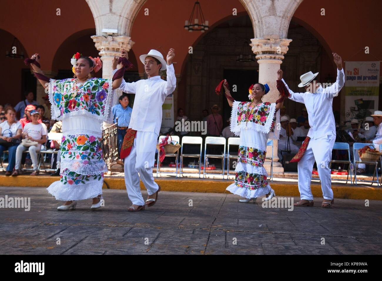 Infantile dancers during a Jarana performance on Merida sunday activities, Merida, Riviera Maya, Yucatan Province, - Stock Image
