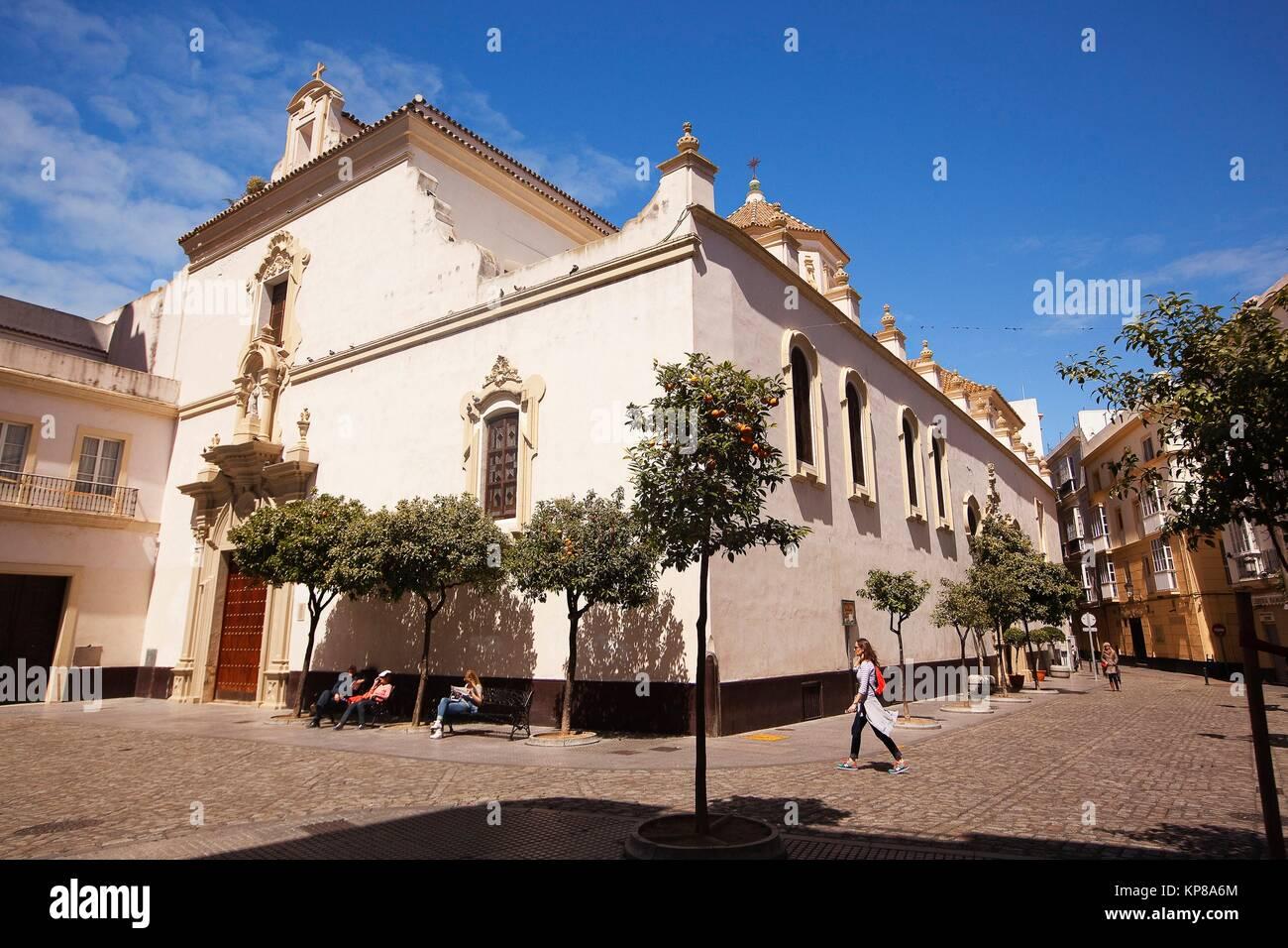 View to the Cristo De La Veracruz church, Cadiz City, Atlantic Ocean, Andalusia, Spain, Europe. - Stock Image