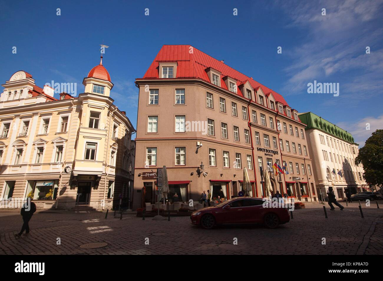 Traditional buildings in the old town, Tallinn, Estonia, Baltic States, Europe. Stock Photo