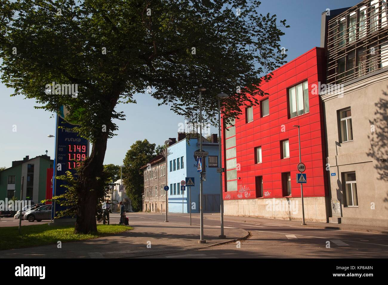 Modern houses in the city of Tallinn, Estonia, Baltic States, Europe. Stock Photo