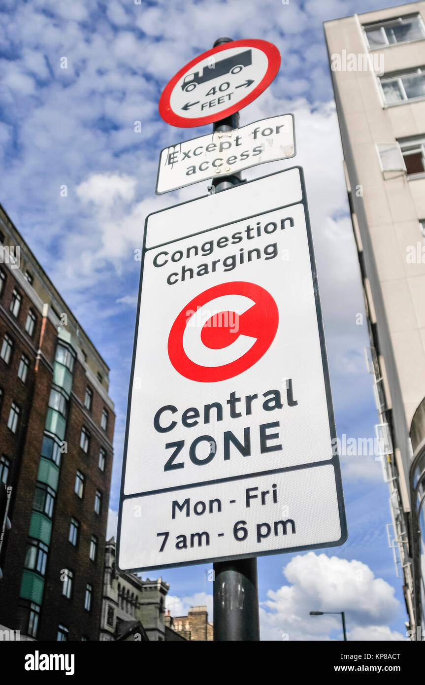 Sign at the start of the Congestion Charging zone in London - Stock Image